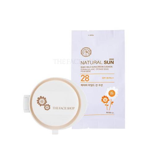 The Face Shop Natural Sun Eco Baby Mild Sun Cushion SPF28 PA ++ (Refill)